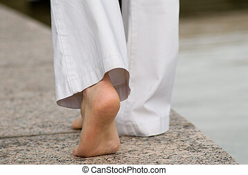 barefeet - woman walks with barefeet
