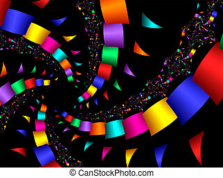 Party Streamers - brightly colored streamers and confetti on...