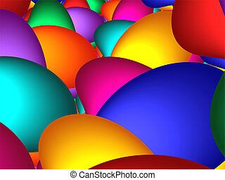 Easter Eggs - dozens of brightly colored 3d Easter eggs.