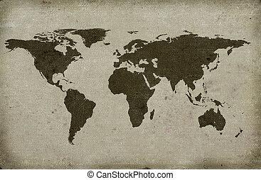 grungy textured world map