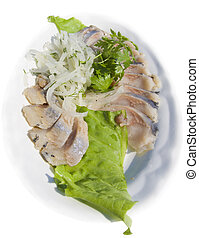 herring - Herring with an onions and salad White background