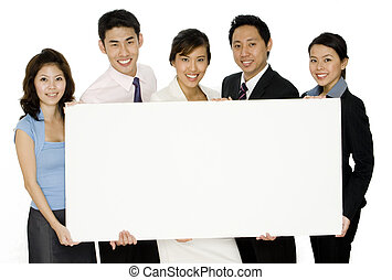 Five business people - An asian business team holding a...
