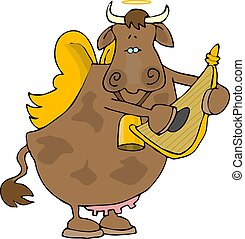 Cow angel - This illustration depicts an angelic cow playing...