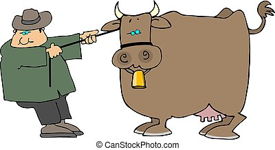 Cow pulling - This illustration depicts a man pulling a cow.