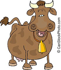 Happy cow - This illustration depicts a happy, smiling cow.