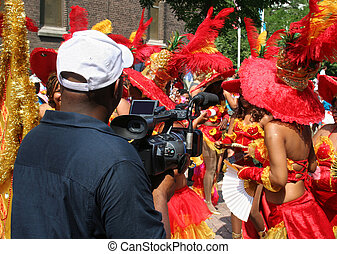 Carnaval TV Crew - Cameraman filming a carnaval parade