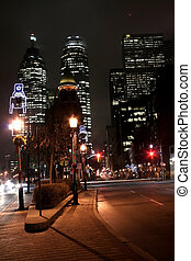 Night time ina city - A street in Toronto downtown in night...