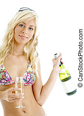 wine girl #2 - lovely blond in colorful bikini holding glass...