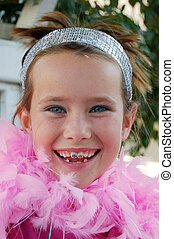 Girl with pink boa - Cute girl with pink feather boa around...