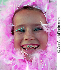 Pink Feather Girl - Girl with pink feather boa wrapped...