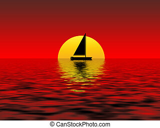 sunset - boat on the sea