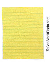 crumpled yellow lined paper with white background