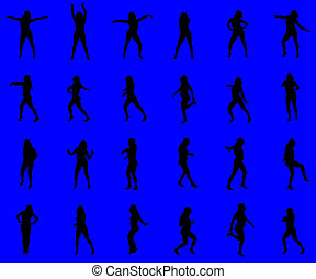 Multiple silhouettes against a blue background - with...