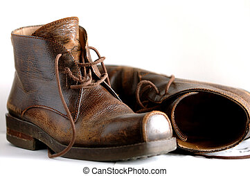 Leather boots - Mae leather boots with the white background