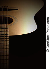guitar and light - light and shadow on a guitar body