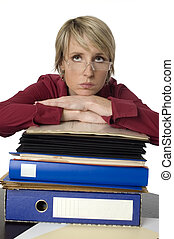 businesswoman - business woman with a lot of files looking...