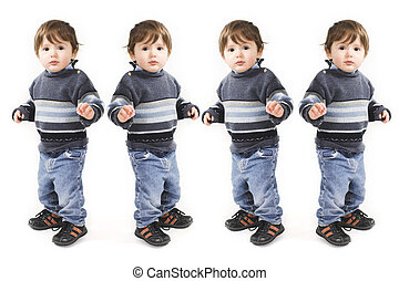 baby pose - duplicate of baby standing over white background
