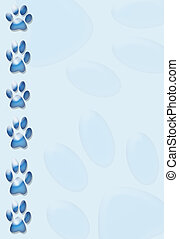 paws border - blue paw print border,background or stationary