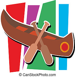 Canoe - Stylized canoe with two paddles and striped...