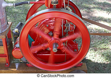 Engine - An engines flywheel spinning