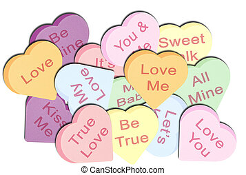 Pile of Candy Hearts - An Illustration of a Pile of Candy...
