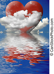 Love in the Clouds - Red heart in the clouds reflected in...