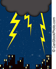 lightning - dark cloud and lightning on a nightime city sky