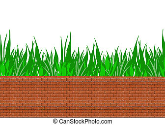 brick wall with grass on a white background
