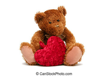 Sweet Valentine - Teddy bear with soft heart on a white...