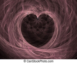 Pink and Black Heart with Flower