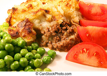 Shepherds pie - A meal of shepherds pie - minced ground meat...