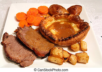 Roast beef lunch - Sunday lunch of roast sirloin beef,...