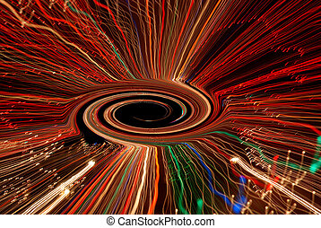 Black Hole Vortex - Time exposure photo of Christmas lights...