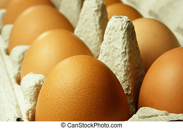 brown eggs - Close-up of brown eggs ready for cooking or...