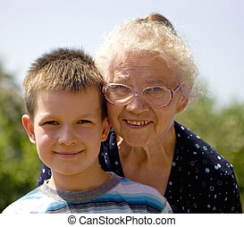 boy with grandma - happy boy with grandmother