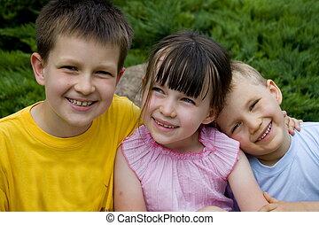 happy children - children in garden