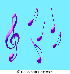 purple music notes - abstract art purple music notes on blue...