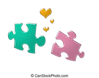 matching pieces - abstract art puzzle pieces and heart...