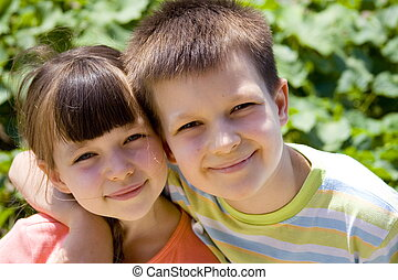 happy children - Sister and brother