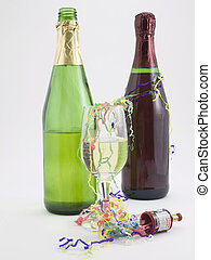 Party - Photo of two bottles of champagne and a glass of...