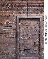 Retro oak door - House number thirteen (13) - entrance door...