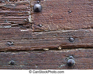 Wood background with nails - Close-up on a old brown painted...