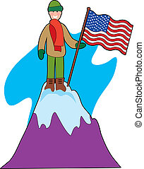 Mountain Climber - Young mountain climber with an American...