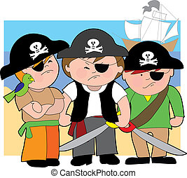 Pirate Kids - Three young boys dressed as pirates on the...