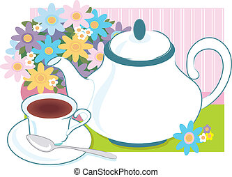 Tea Time - Teapot and teacup with a vase of flowers