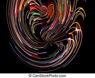 Colored Vortices - Time exposure photo of Christmas lights...