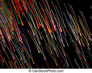 Flying Neon Loops - Time exposure photo of Christmas lights...
