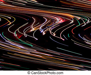 Neon Highway - Time exposure photo of Christmas lights with...