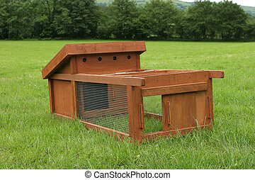 Chicken Coup - Wooden chicken house with wire mesh run...