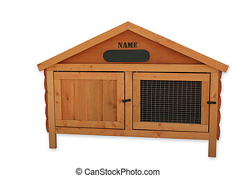 Rabbit Hutch - Wooden tongue and groove rabbit hutch, over...